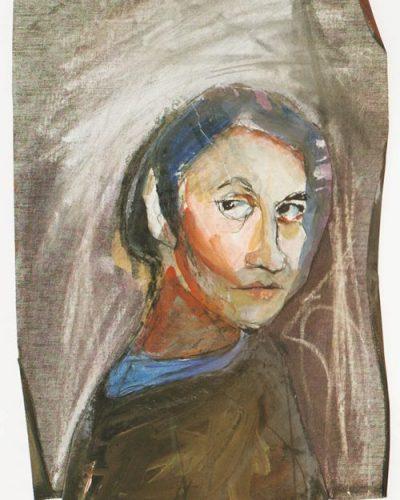 Αυτοπροσωπογραφία, μικτή τεχνική σε χαρτί και καμβά, 52 x 32 εκ., Συλλογή του καλλιτέχνη, 1992