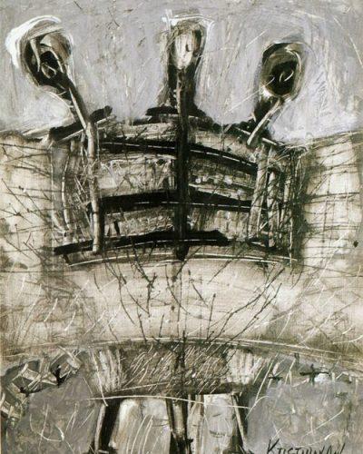 Μετάλλαξη, ακρυλικό και μελάνι σε χαρτί, 40 x 30 εκ., Συλλογή του καλλιτέχνη, 1990